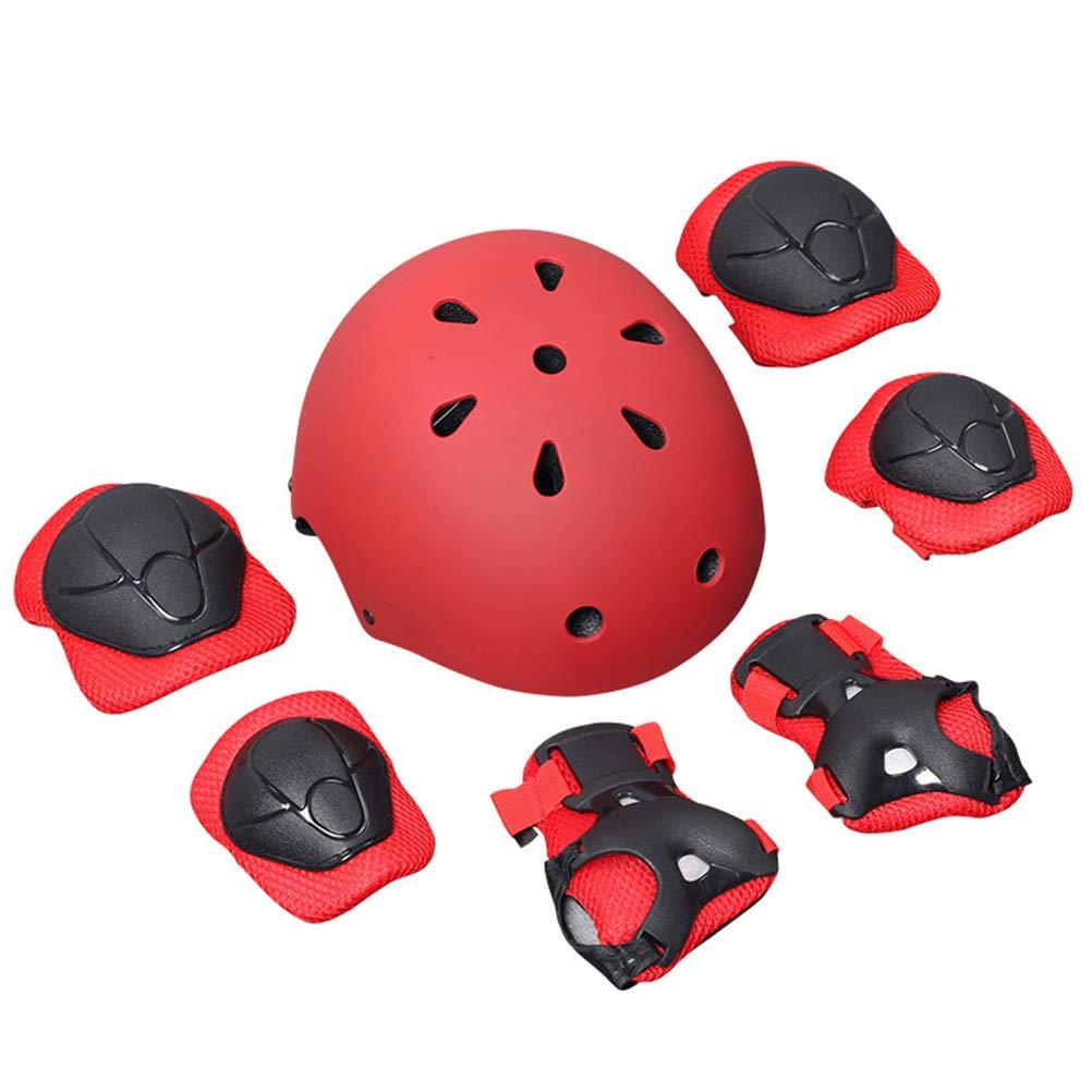 VORCOOL 7 Enfants Coudes Poignet genouillère Casque de vélo Sport Enfant équipement de Protection de la sécurité Skateboard Accessoire de vélo de Skate (Rouge)
