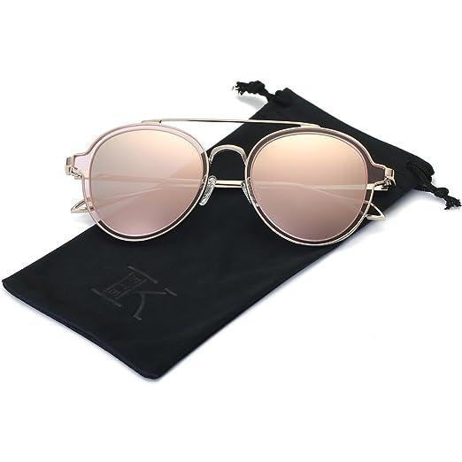 1565db65360 LKEYE-Unisex Polarized Sunglasses Metal Frame UV Protection Mirrored Lens  LK1706 Gold Frame Pink Lens