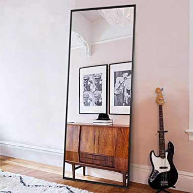 "ONXO Full Length Mirror Large Floor Mirror Standing or Wall-Mounted Mirror Dressing Mirror Frame Mirror for Living Room/Bedroom/Cloakroom (65""X22"", Black)"