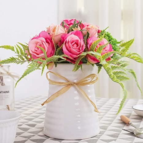 Amazon Com Yuyao Artificial Flowers Rose Bouquets With Vase Fake Modern Bridal Flower With Ceramic Vase For Wedding Home Table Office Party Patio Decoration Home Kitchen