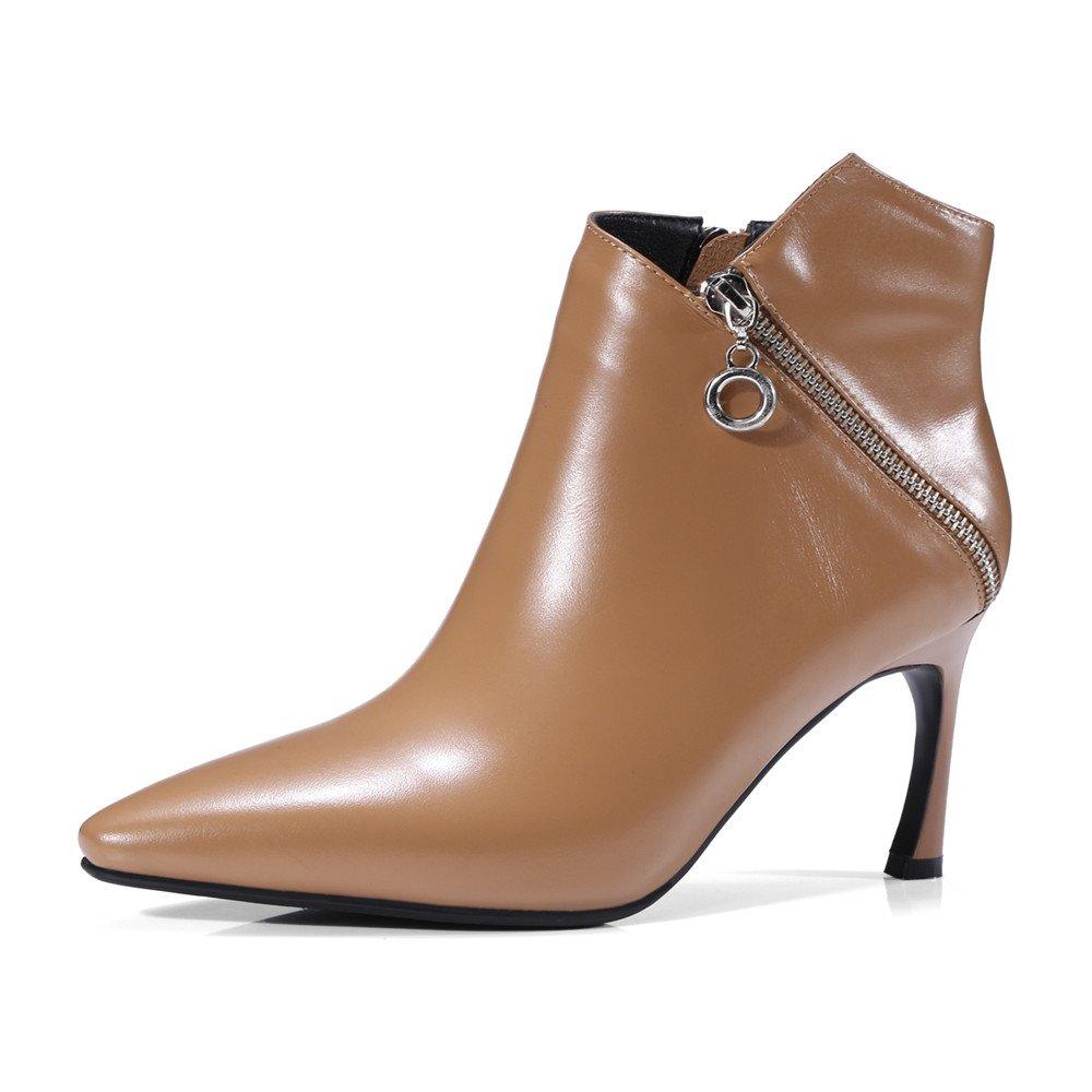 Nine Seven Cuero Moda Puntiagudos Botines de Tacón de Aguja con Cremallera de Vestir para Mujer (36.5, albaricoque): Amazon.es: Zapatos y complementos