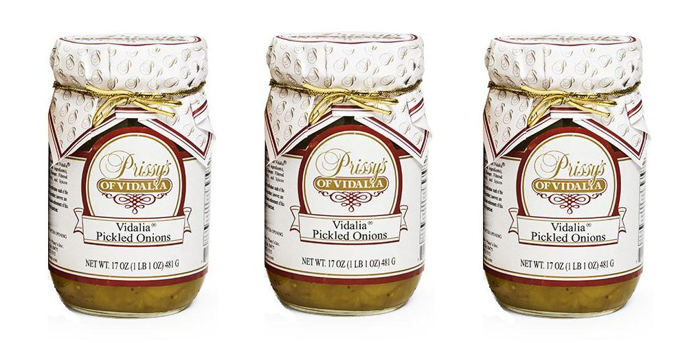 Prissy's of Vidalia Sweet Pickled Onions, 16 Oz (Pack of 3) Fat FREE, ALL Natural, No Preservative