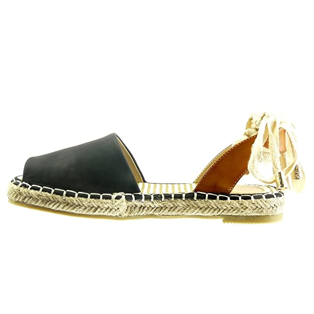 Angkorly - Chaussure Mode Espadrille Sandale ouverte femme corde noeud lacets Talon bloc 2 CM - Blanc - LX132 uqyarRLN9y