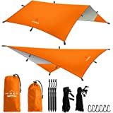 Hisea Hammock Rain Fly Tent Tarp Shelter 3m x 3m – Waterproof lightweight Rainfly Sun Shelters and Sunshade for Outdoor Camping Picnic Travel Beach Hiking Fishing, 4 Colors