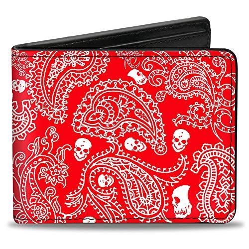 Bi-Fold Wallet - Bandana Skulls Red White
