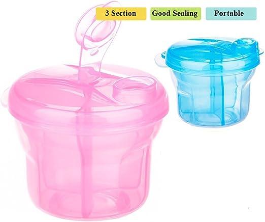 1 Pink Portable Baby Food Milk Powder Dispenser Travel Bag Pot 3 Section Tub