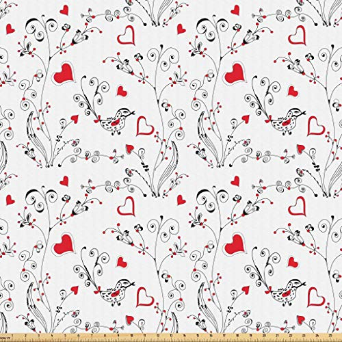 Lunarable Hearts Fabric by The Yard, Romantic Nature Pattern with Foliage with Cute Birds and Shapes of Love Dots, Microfiber Fabric for Arts and Crafts Textiles & Decor, 1 Yard, Black Red White from Lunarable