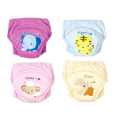 Happy childhood Baby Boys Girls Training Underwear Anti-Leakage Diaper Potty Training Pants Reusable Set of 4 Pieces
