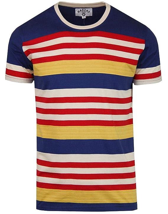 1960s -1970s Men's Clothing  1970s Stripe T-Shirt in Cobalt Blue Madcap England Cosmo Retro £19.99 AT vintagedancer.com
