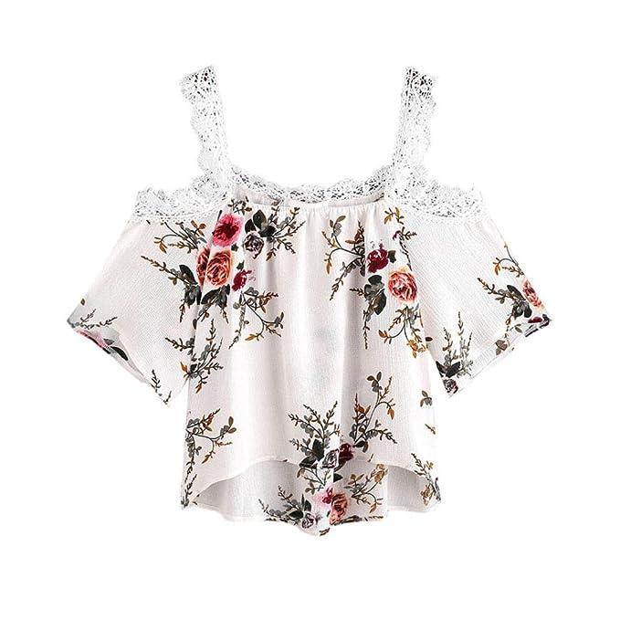 Fossen Verano Mujer Blusa de Manga Corta Camisa de Floral y Encaje EN Barato y Ofertas