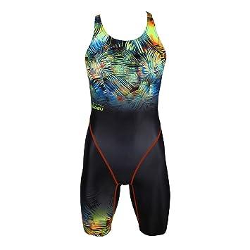 0183e7cc2cb473 ZAOSU Wettkampf-Schwimmanzug Z-Safari - Badeanzug mit Bein für Damen und  Mädchen,