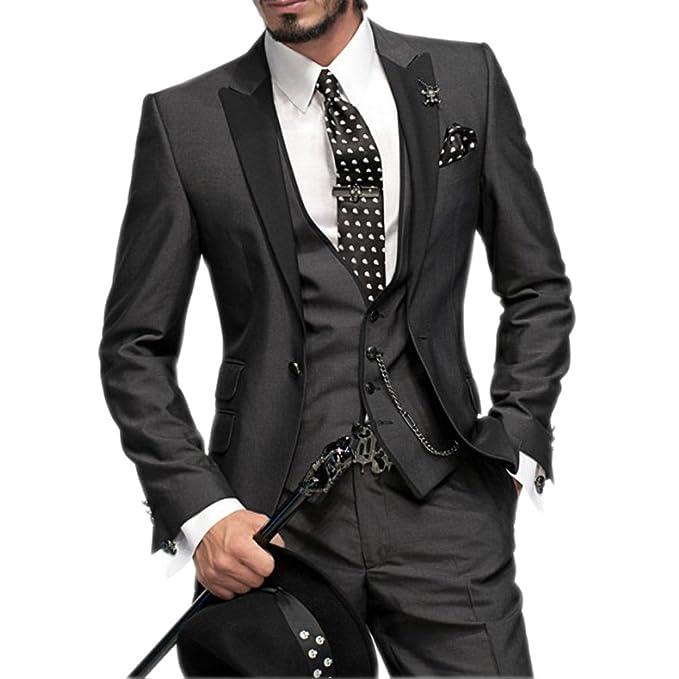 Amazon.com: hzwl dos botón 4 piezas azul boda trajes trajes ...