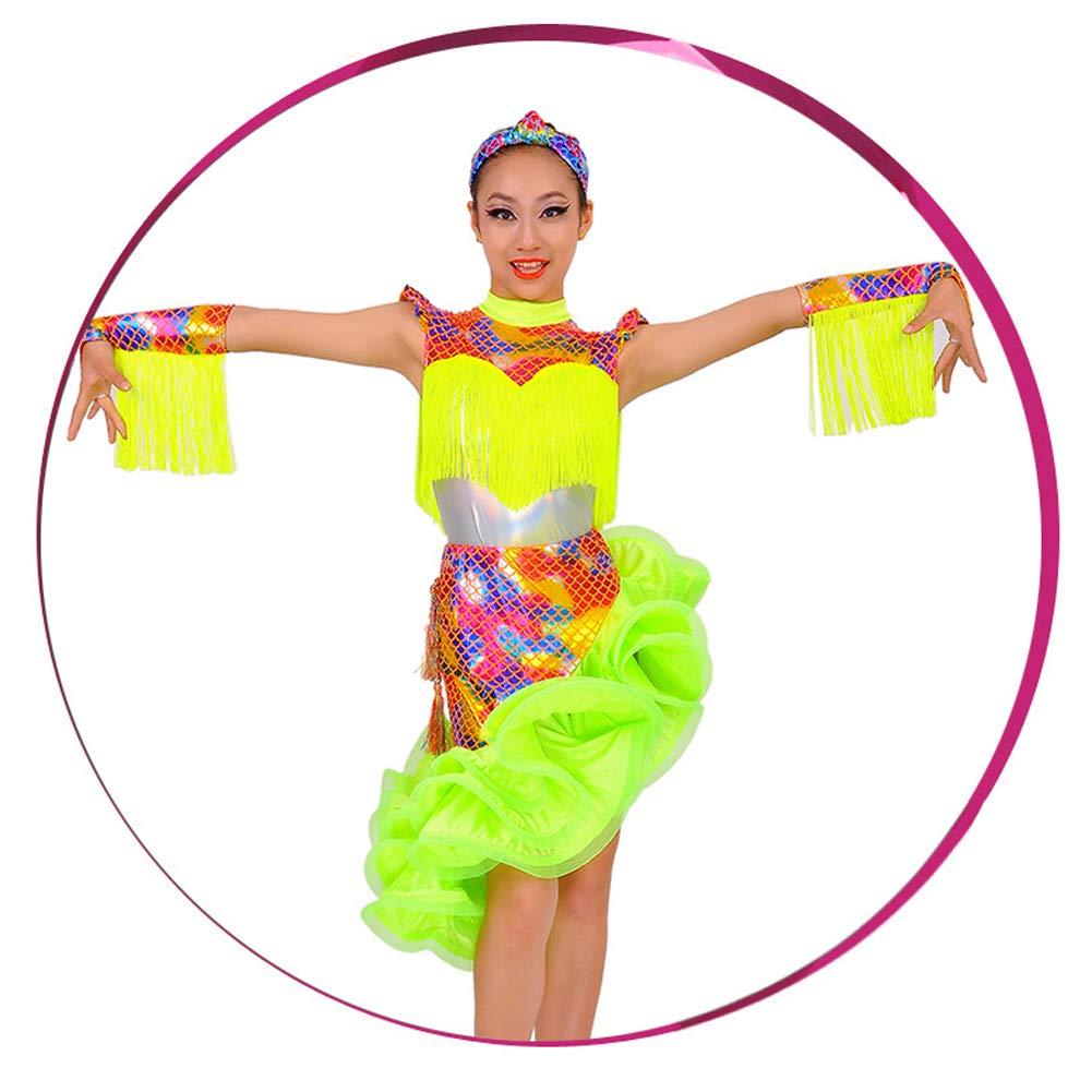 B2 140CM JIE. Latin-Nouveau Pompon Costume sirène Spectacle Concours Costume Enfants de la marée Droite d'été,B1,110CM