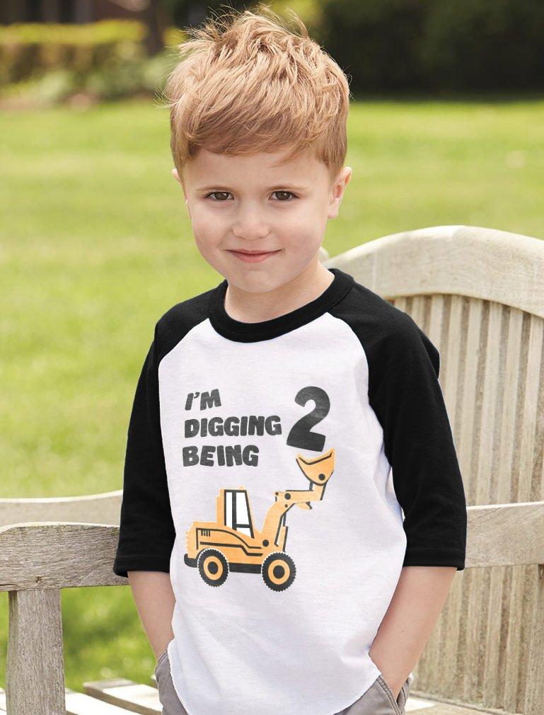 2nd Birthday Bulldozer Construction Party Toddler Raglan 3 4 Sleeve Baseball Tee G0PMh33gmj Christmas Supplies