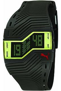 Puma PU910761001 - Reloj Digital de Cuarzo para Hombre con Correa de Caucho, Color Negro