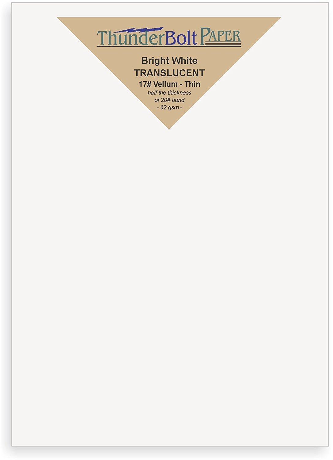 100 Bright White Translucent 17# Thin Sheets - 5 X 7 (5X7 Inches) Photo|Card|Frame Size - 17 lb/pound Light Weight Fine Quality Paper - Tracing, Fun or Formal Use - Not a Clear Transparent TBP