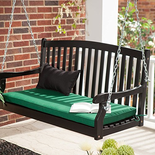 Coral Coast Coral Coast Pleasant Bay Curved Back Painted Porch Swing, Black, Painted Wood, 4 ft. (Black Porch Swing)