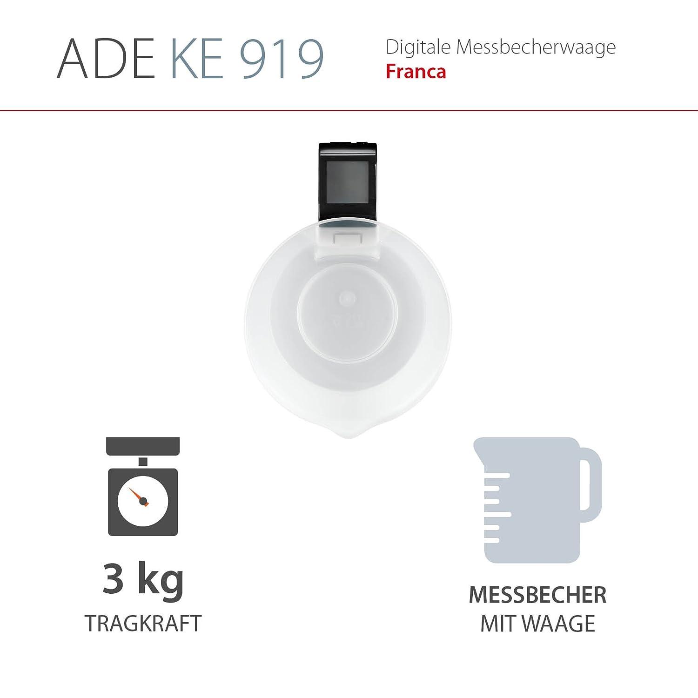 Compra ADE Báscula digital de cocina con vaso medidor KE919 Franca. Balanza electrónica de cocina especialmente para pesar y medir liquidos. Vaso extraíble.