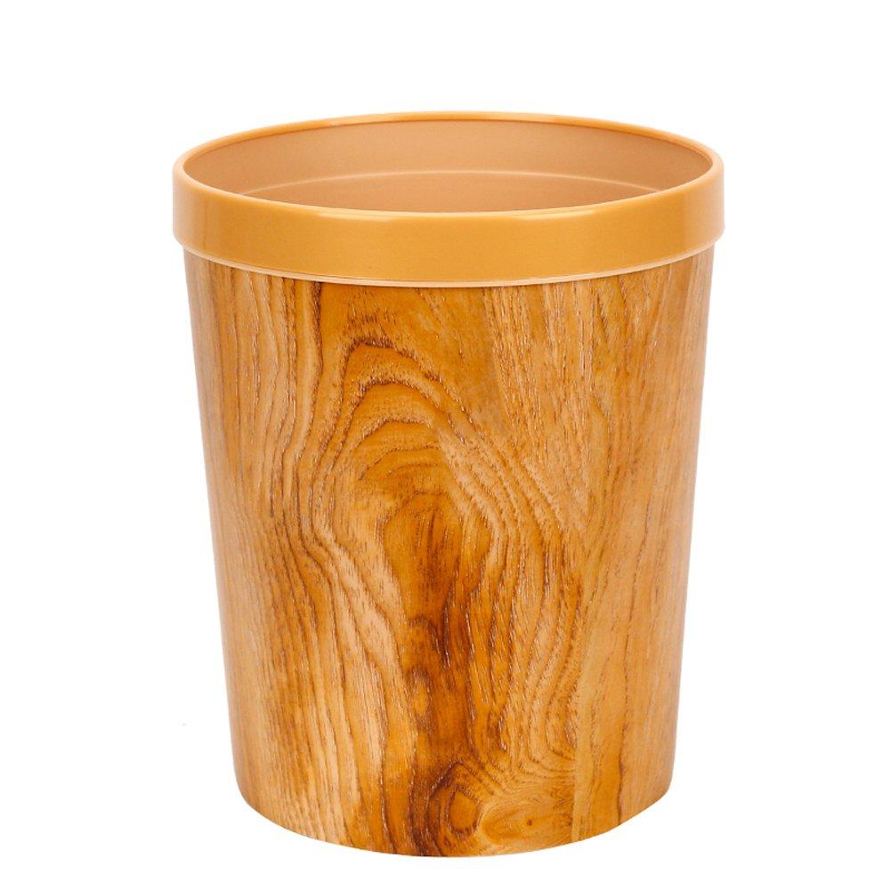 Peacewish European Trash Can Imitation Wood Grain Plastic Waste Basket Office Bathroom Kitchen Household Large Trash Can (yellow)