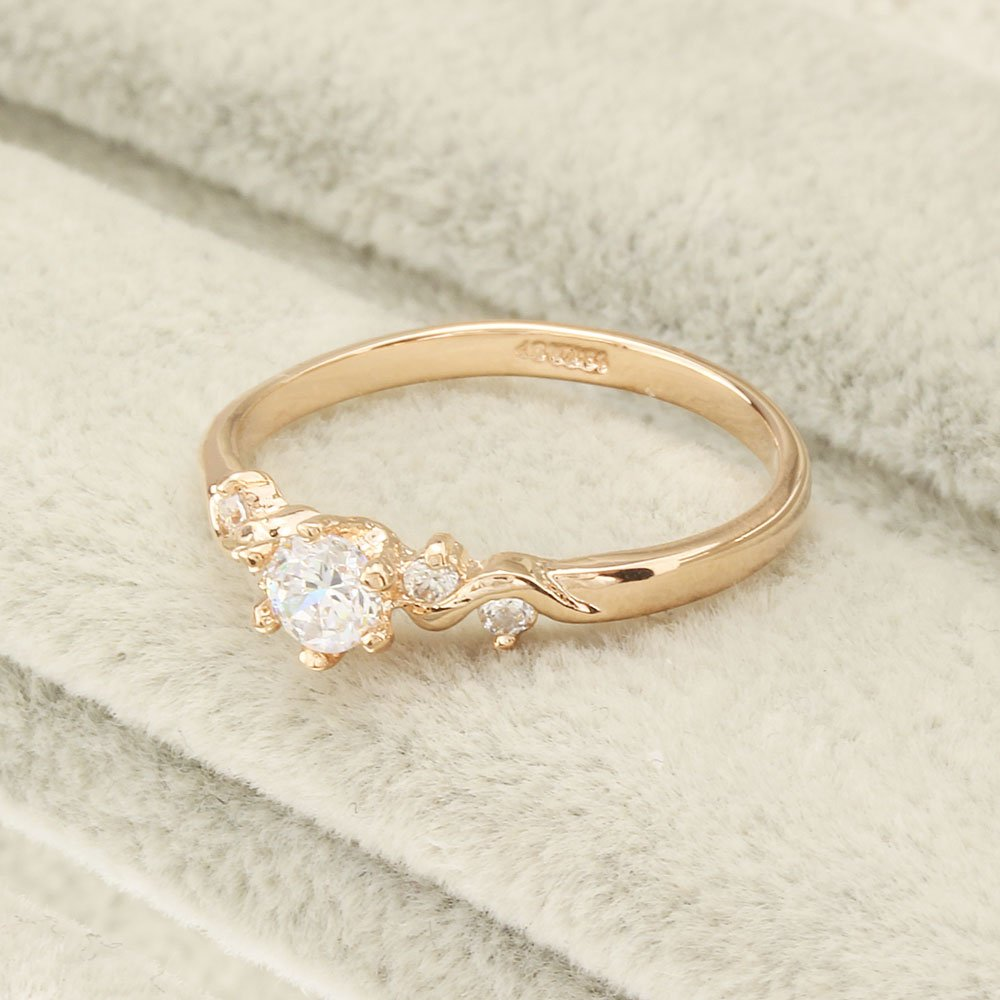 Star Jewelry Champagne Gold Plated CZ-Crystal Wedding Ring for Women (9)