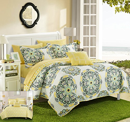 Chic Home Madrid 4 Piece Reversible Quilt Set Super Soft Microfiber Large Printed Medallion Design with Geometric Patterned Backing Bedding Set with Decorative Pillow and Sham, Full/Queen Yellow (Yellow Gray Bedding Blue)