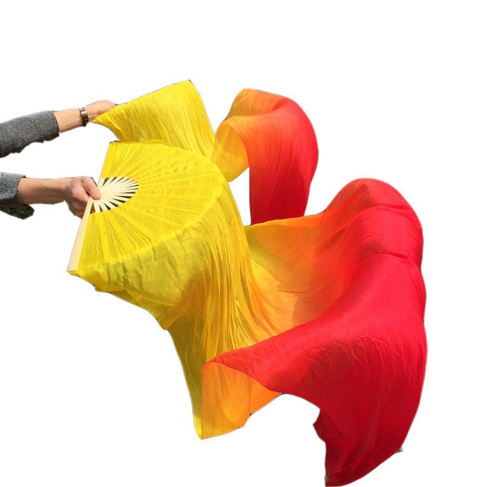 Nimiman Cheap Women Belly Dance Fan Veils 18090cm Yellow Orange Red by Nimiman
