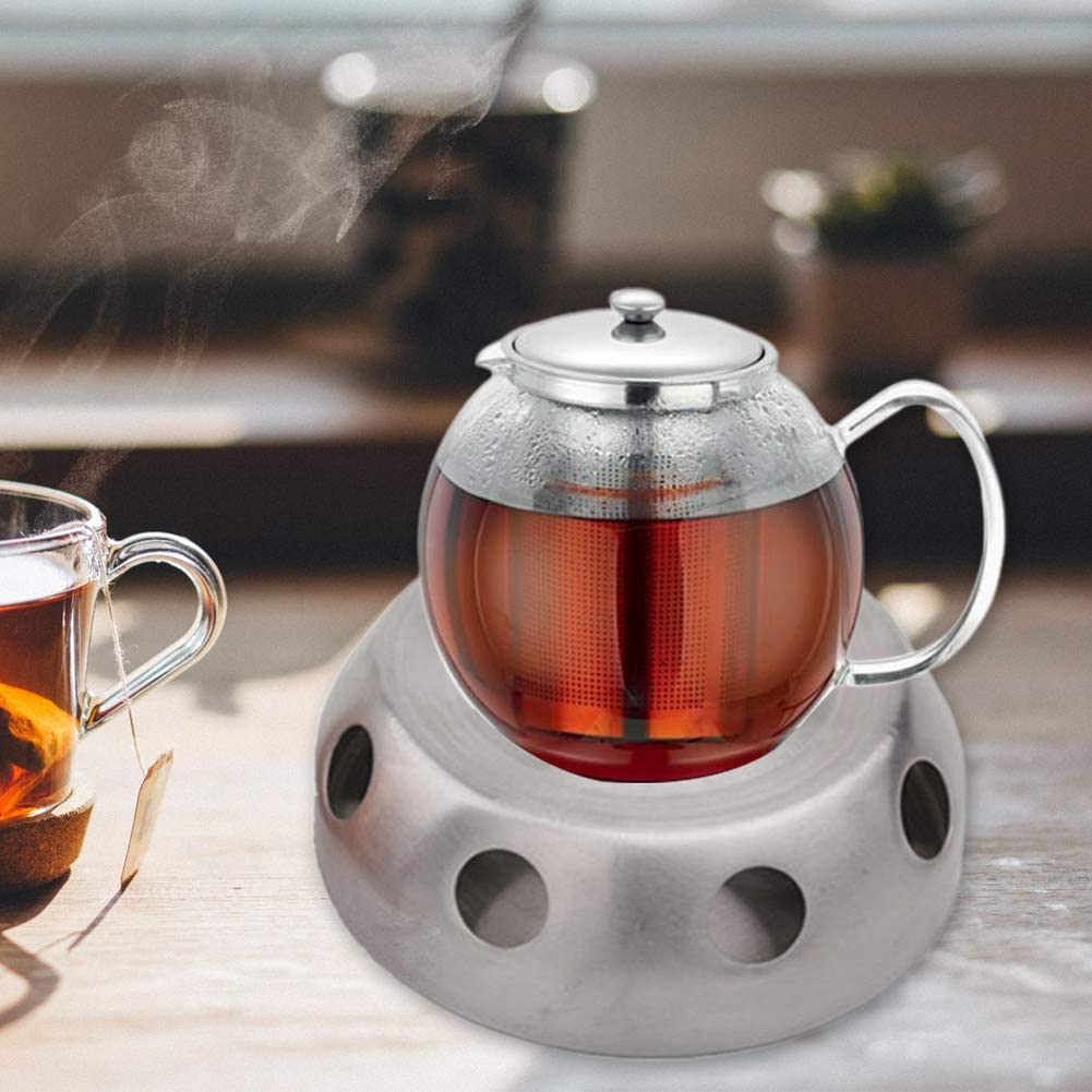 Circular Herb Tea Light Candle Warmer Heating Base For Home Office Teapot Warmer Stainless Steel Coffee Tea Warmers