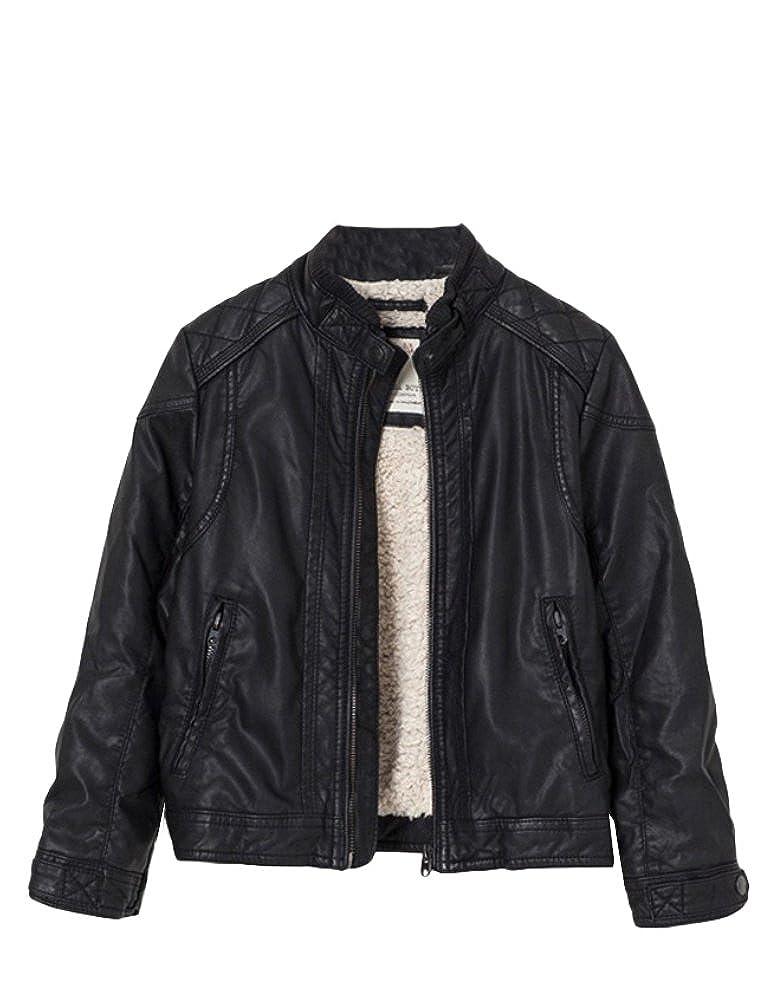 Mallimoda Boys Leather Motorcycle Jacket Childrens PU Zipper Coat