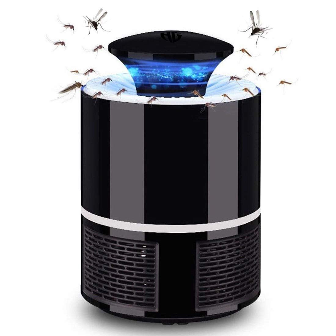 Huntingood Electric Mosquito Insect Killer/Bug Zapper with 360 Degrees LED Trap Lamp,Strong Built in Suction Fan,USB Power Supply,for Indoor (Black) by HUNTINGOOD