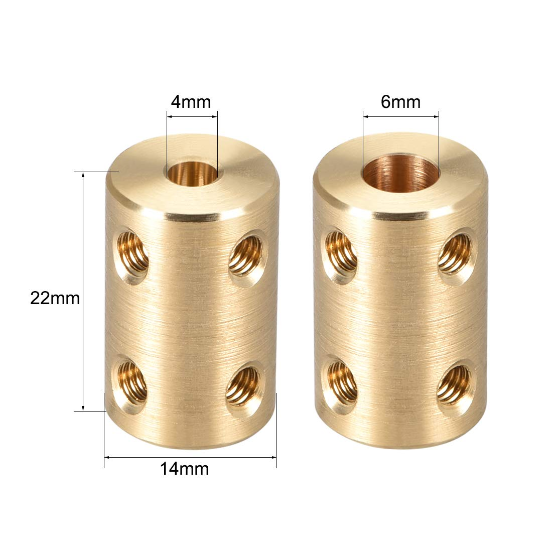 uxcell Shaft Coupling 8mm to 8mm Bore L22xD14 Robot Motor Wheel Rigid Coupler Connector Gold Tone 2 Pcs