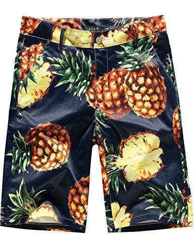 SSLR Mens Pineapples Aloha Flat Front Casual Hawaiian Shorts