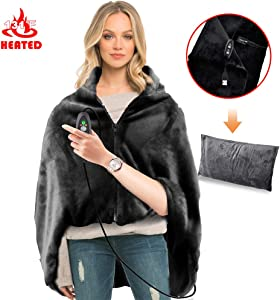RTDEP USB Heated Shawl with Pillowcase Heated Blanket Plush Throw Blanket , Heated Throw Electric Lap Blanket as a Pillow,Heated Cape Heated Flannel Blanket 44.8x35.2 Inch(Black)