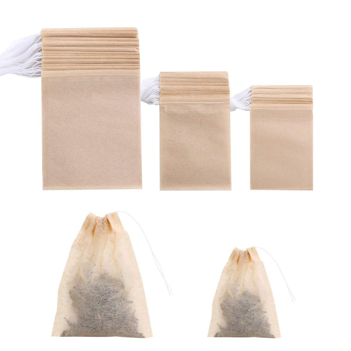 400 Pack Disposable Drawstring Tea Filter Bags Safe & Natural Unbleached Paper Tea Infuser Drawstring Empty Bag for Loose Leaf Tea (natural color)