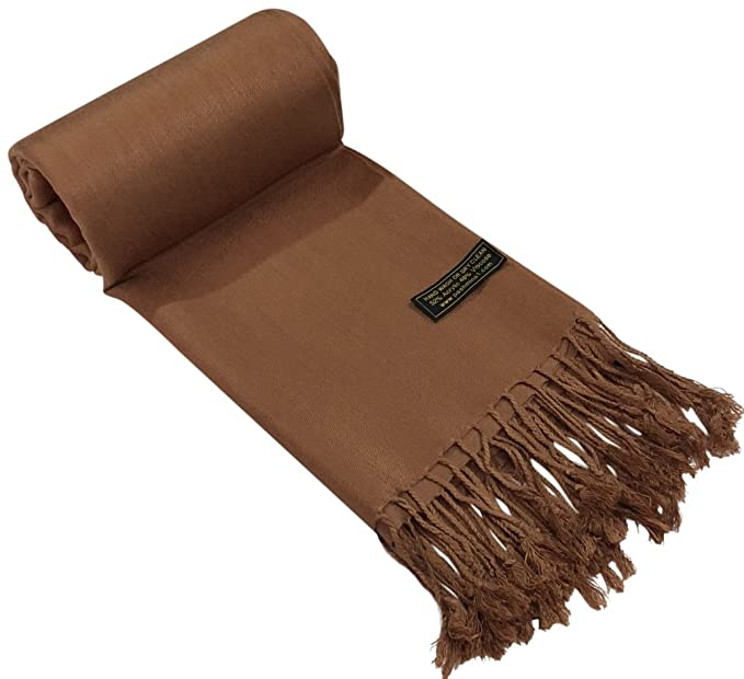 5e2c1be78a4 CJ Apparel Brown Solid Colour Design Shawl Scarf Wrap Stole Pashmina  Seconds NEW(Size  One Size)  Amazon.co.uk  Clothing