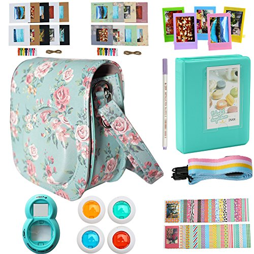 Alohallo Instax Mini 9/ 8/ 8+ Accessories for FujiFilm Instax Mini 8/ Mini 8+/ Mini 9 Instant Film Camera with Camera Case/ Lens / Mini Album/ Color Frame/ Sticker / Strap/ Pens/ Filter(Rose)