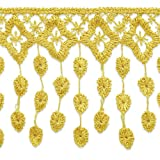 Expo International Abigail Victorian Lace Fringe Trim, 13-Yard, Gold