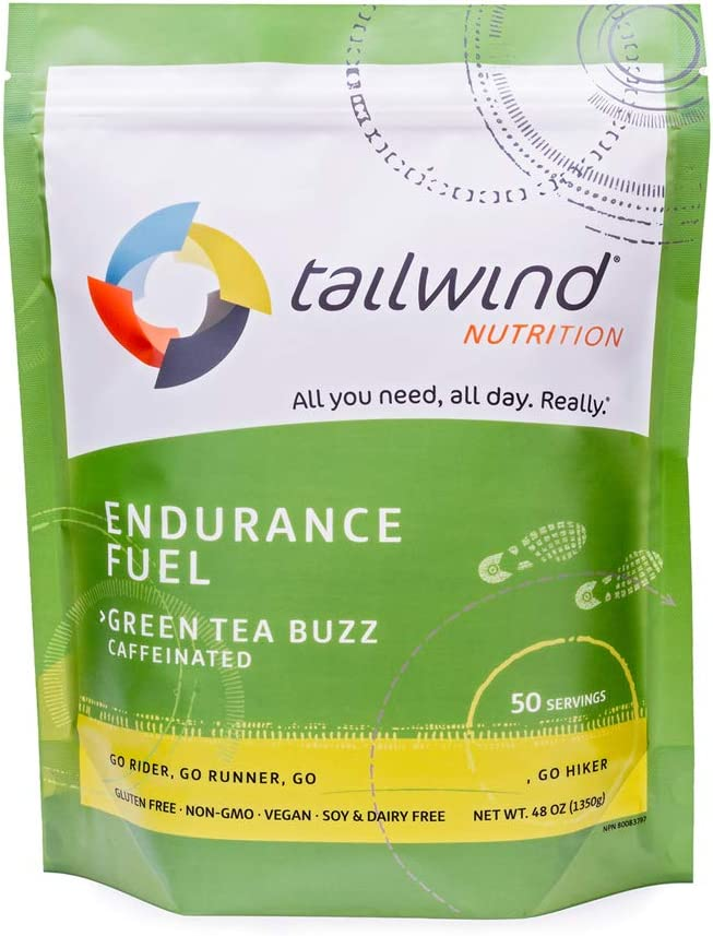 Tailwind Nutrition Caffeinated Green Tea Endurance Fuel 50 Serving - Hydration Drink Mix with Electrolytes, Carbohydrates - Non-GMO, Gluten-Free, Vegan, No Soy or Dairy