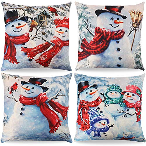 TERUNPU 4pcs Christmas Pillow Covers Blue 18 x 18 Inches Snowman Pillow Covers Decorative Pillowcase Cushion Cover Case…