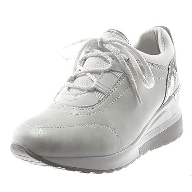 Angkorly - Damen Schuhe Sneaker - Sporty chic - Tennis - bi-Material -  glänzende 9399b14ce8