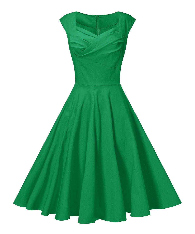 V fashion Women 1950s Style Retro Cap Sleeve Garden Party Vintage Swing Dress, Green XL