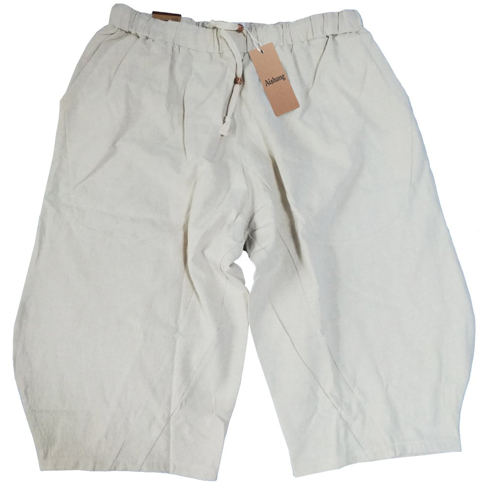 Aishang Men's Patchwork Shorts Elastic Waist Linen Loose Pocket Capris Joggers Harem Pants by Aishang (Image #4)