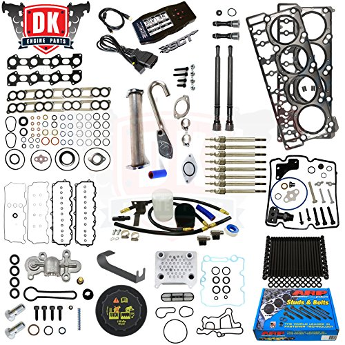 Ford 6.0L 6.0 Powerstroke Kit - 2004.5-2006 - Tuner ARP Studs 18MM Head Gaskets Oil Cooler Stand Pipes Coolant Kit Cap Glow Plugs STC Blue Spring Valve Cover Rocker Box Intake Exhaust Gaskets (18mm)