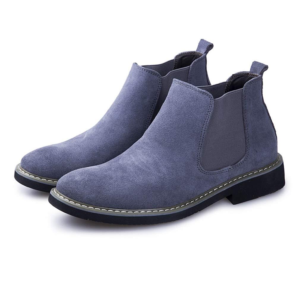 2018 Kommende Stiefel, Runde Zehenmanschette für Herren mit flachen Wildleder Pure Farbe Stiefel (Farbe   Grau, Größe   41 EU)