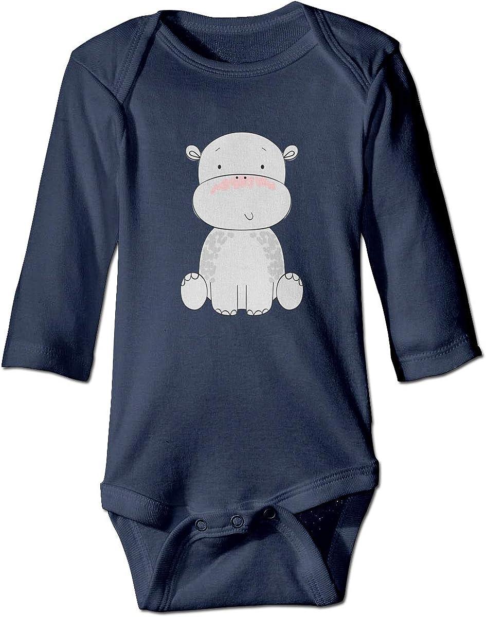 YOIGNG Hippopotamus Unisex Baby Bodysuit Infant Cotton Outfits Long Sleeve Jumpsuit