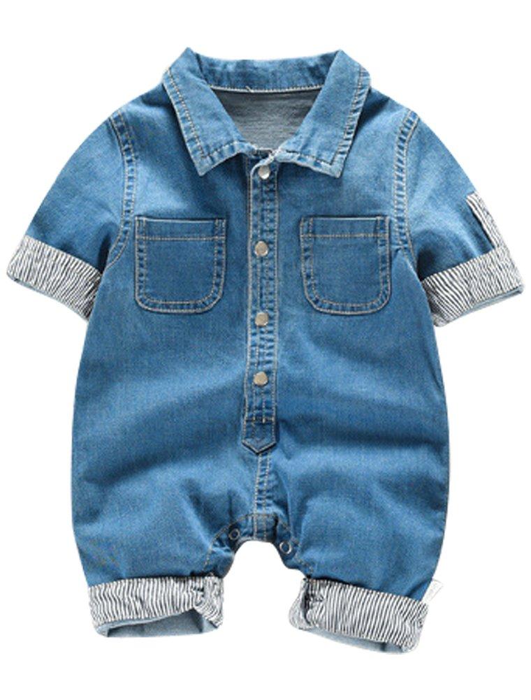 ARAUS Salopette Jeans Jumpsuit a Manica Corta da Neonato Bimba Pantaloni Tute Outfit Estive, 0-12 Mesi 6350P10