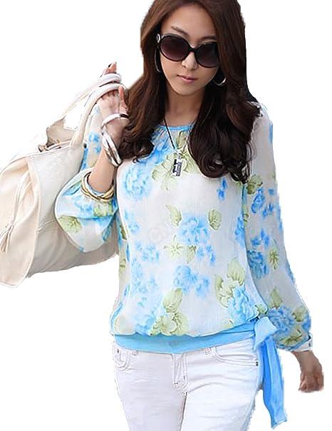 Hotportgift Fashion Tops para Mujer diseño Estampado con Flores de chifón de Camiseta de Manga Larga
