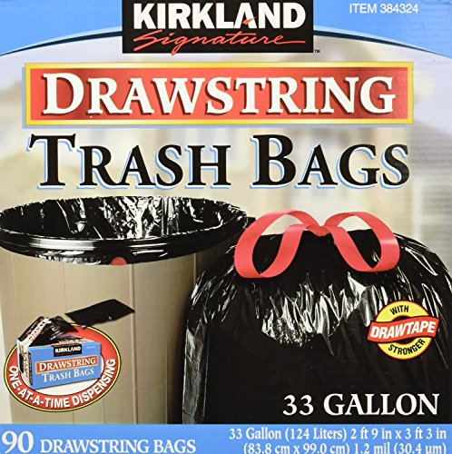 Kirkland Signature Drawstring Trash Bags - 33 Gallon - Xl Size - (90 count) (2 Pack)