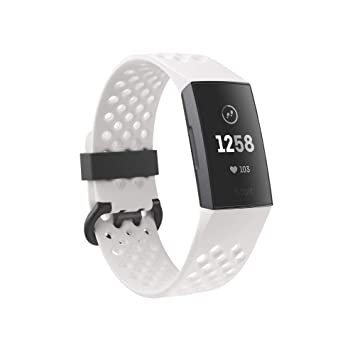 Fitbit Charge 3 special edition fitness activity tracker, graphite/white  silicone, one size (s & l bands included)
