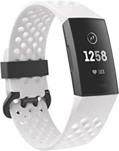 Fitbit Fitness Bracelet Enabled Charge 3, Frost White Sport, Graphite Aluminum