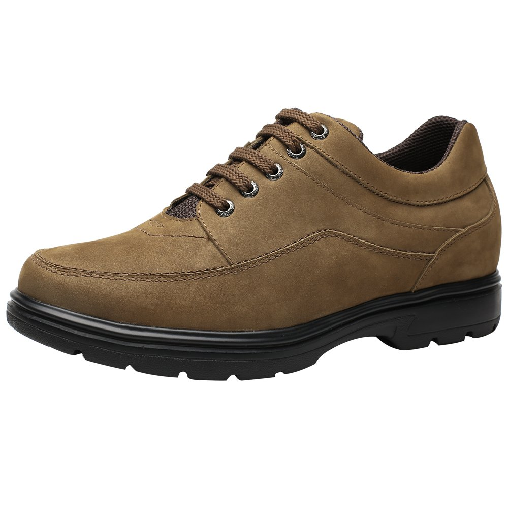 CHAMARIPA Men's Elevator Height Increasing Casual Walking Shoes Brown Nubuck Leather -Taller 2.36 inches - H72C69K081D US12